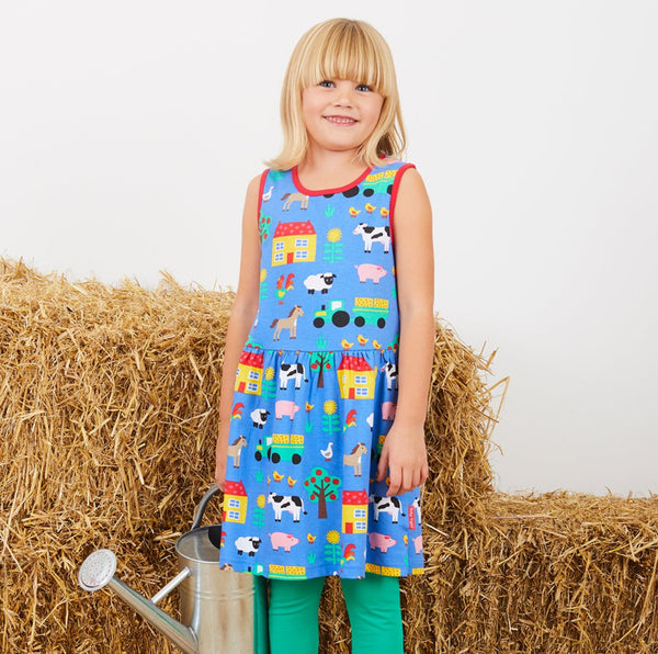 Toby Tiger Organic Farm Print Summer Dress