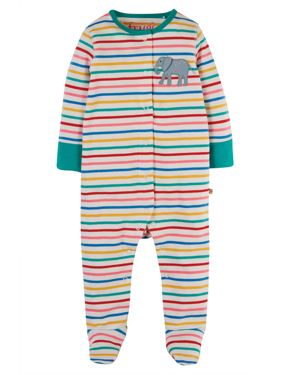 Multistripe Elephant Soft & Lovely Applique Babygrow