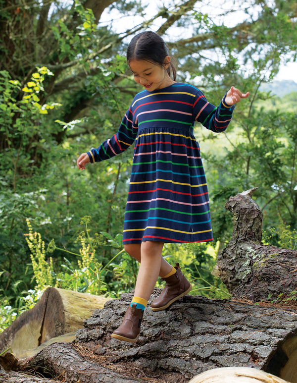 Frugi Indigo Rainbow Stripe Antonia Dress