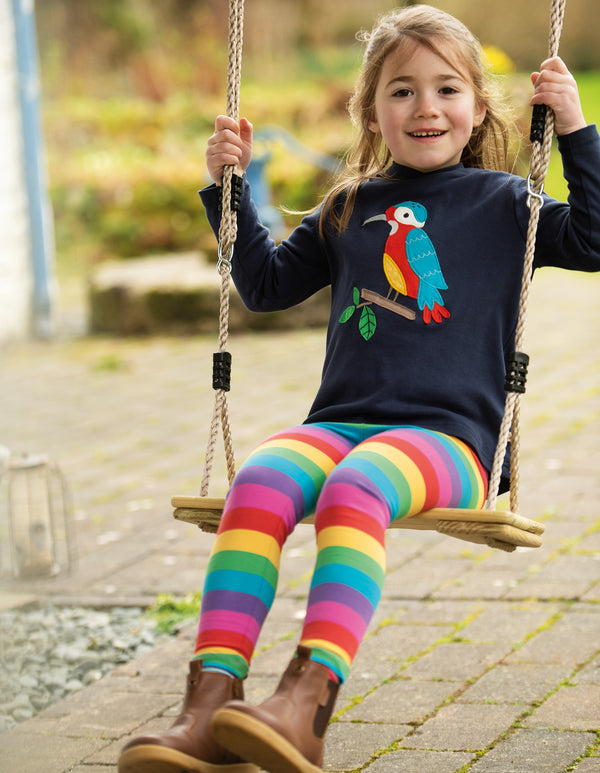 Frugi Foxglove rainbow striped leggings girls Autumn 2020 Highlands and Islands