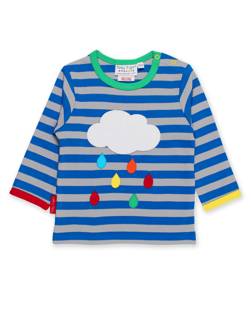 Organic Rainbow Raindrop Cloud L/s T-Shirt - Small Eco Steps