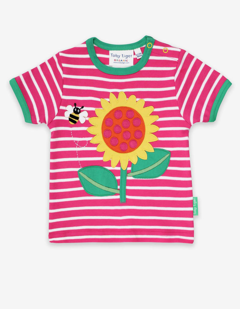 Toby Tiger Organic Sunflower Applique T-Shirt