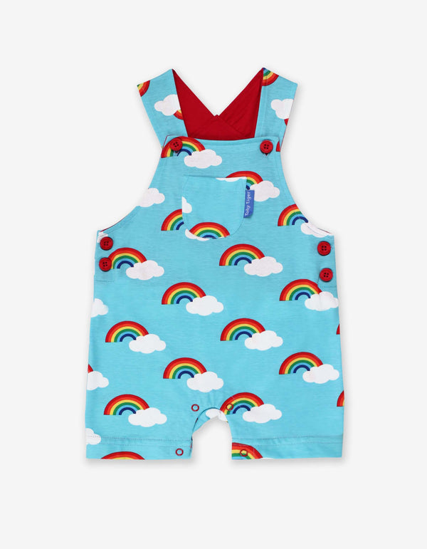 Toby Tiger Organic Rainbow Print Dungaree Shorts