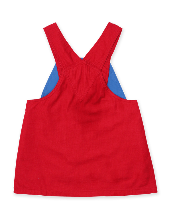 Red Corduroy Dungaree Dress