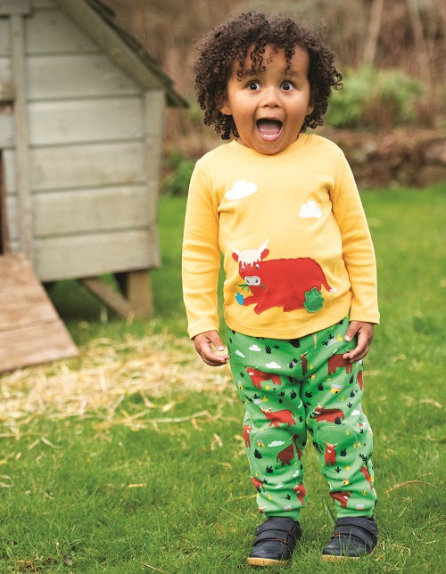 Frugi highland cow snuggle crawlers baby organic kids clothes