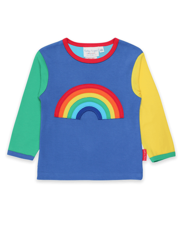 Organic Rainbow Applique L/s T-Shirt - Small Eco Steps