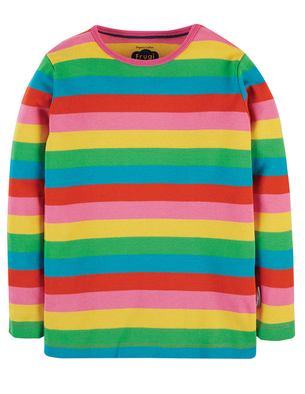 Frugi Foxglove Rainbow Stripe Favourite Long Sleeved Tee