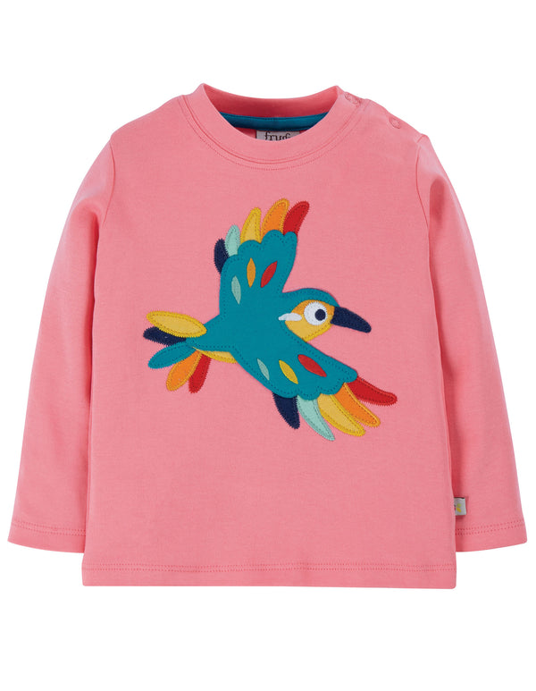 Frugi Guava Pink Bird Little Discovery Applique Top