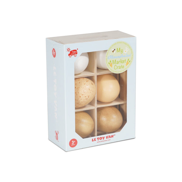 Le Toy Van Honeybee Market Crate - Half Dozen Farm Eggs