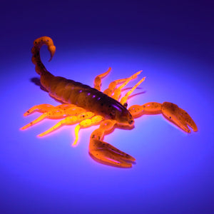 Green and orange soft plastic scorpion bait used for fishing under UV lighting. Fresh baitz alabama scorpion