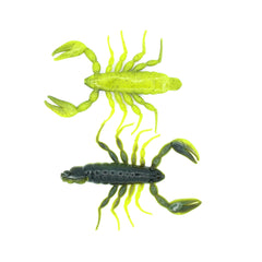Top and bottom view of black and yellow soft plastic scorpion bait used for fishing. Fresh baitz euro yellow tail scorpion
