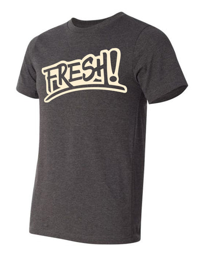 Heather grey tee shirt with cream logo. fresh baitz classic tee