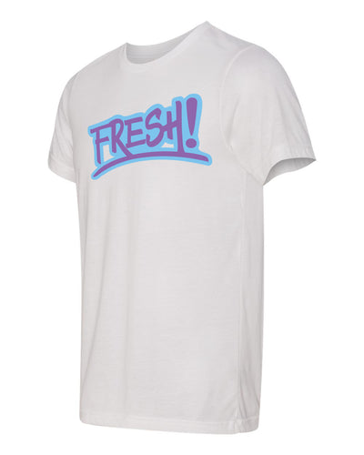 White tee shirt with purple and blue logo. fresh baitz double white tee