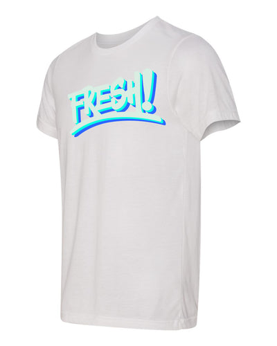 White tee shirt with triple color logo. fresh baitz triple white tee