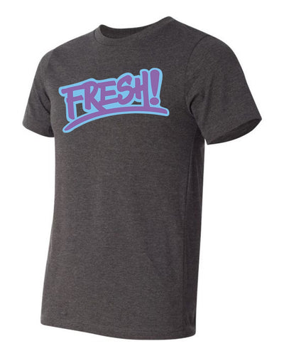 Blue and purple logo on charcoal grey tee shirt
