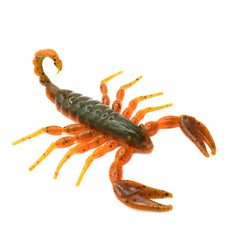 Green and orange soft plastic scorpion bait used for fishing. Fresh baitz alabama scorpion