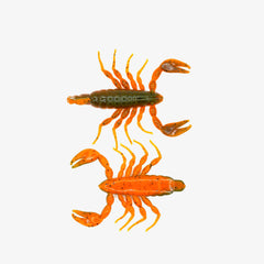 Top and bottom view of green and orange soft plastic scorpion bait used for fishing. Fresh baitz alabama scorpion