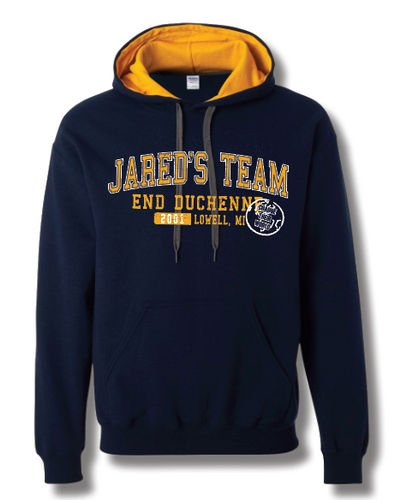 Contrast Hoodie - Jared's Team 50% Cotton/50% Poly pullover hooded sweatshirt