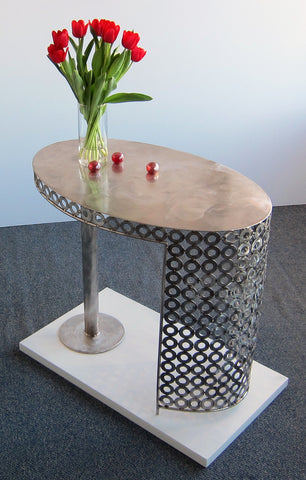 Oval End Table in Stainless steel