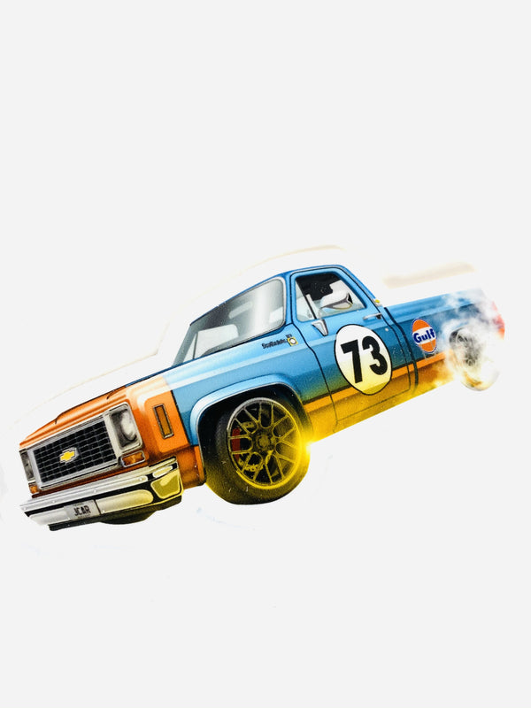 JCAR DIECAST EXCLUSIVE GULF USA FLAG 1973 CHEVROLET C10 PICK-UP TRUCK STICKER