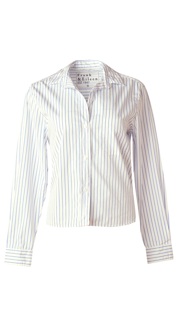 The Silvio Button Up by Frank & Eileen in Blue and White Stripe will be your new go to in your closet.