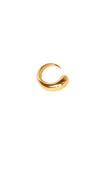 The Khiry Signature Khartoum Silhouette Ring, inspired by the elegant curve of big horned cattle, a store of value among the nomadic Dinka people of Sudan. Sleek and polished in 18k Gold Vermeil