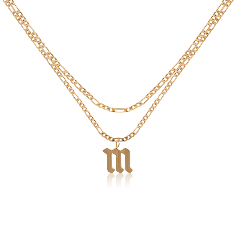 Double Old English Initial Necklace