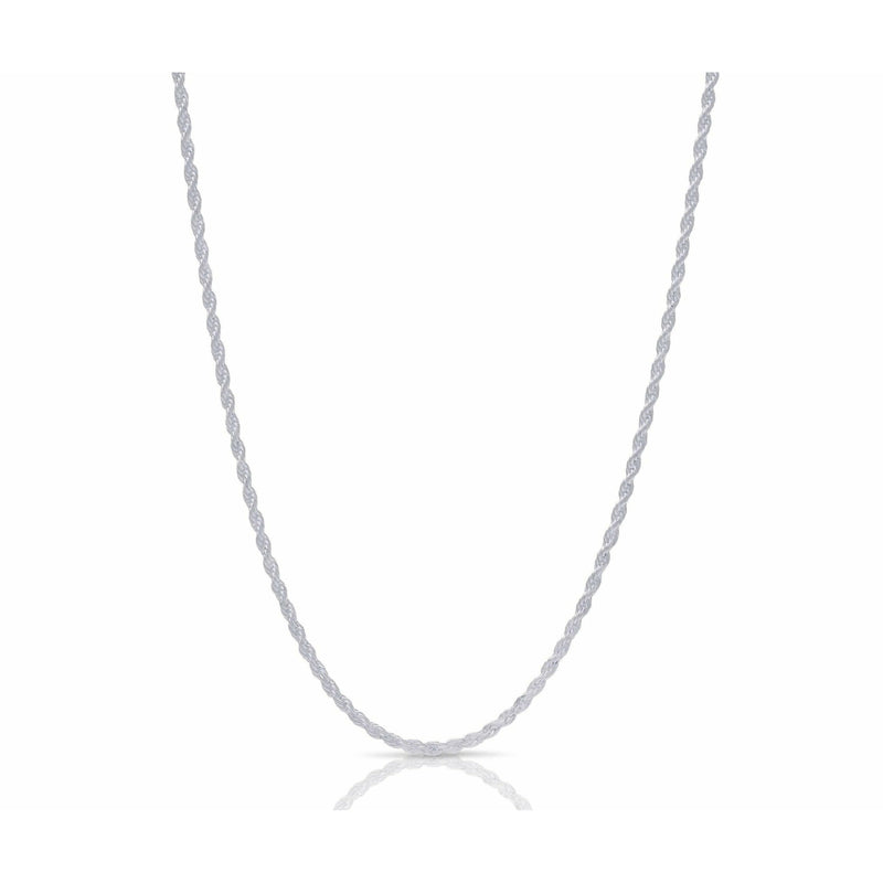 Men's 3MM White Gold Rope Necklace