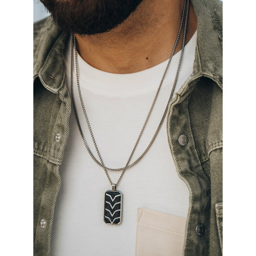 Men's Silver Carbon Fiber Tag Necklace