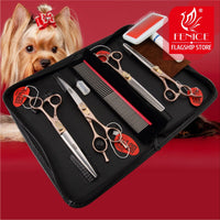 Fenice Dog Scissors Set Straight&Thinning&Curved Pet Grooming Scissors Kits Bichon Teddy Bomei Dog Grooming Shears Set Tool Set