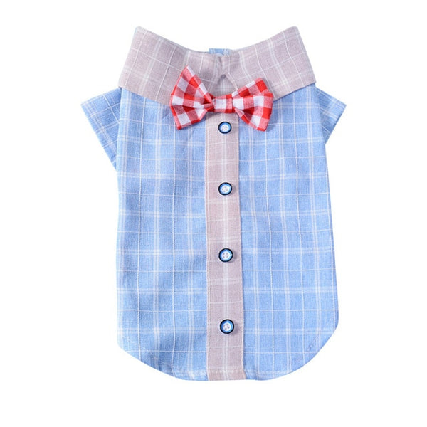 2019 Summer Plaid Dog Shirt Elegant Casual Pet Cat Vest Dog Clothes For Small Medium Dogs Pet Clothing Puppy Kitty T Shirt 35