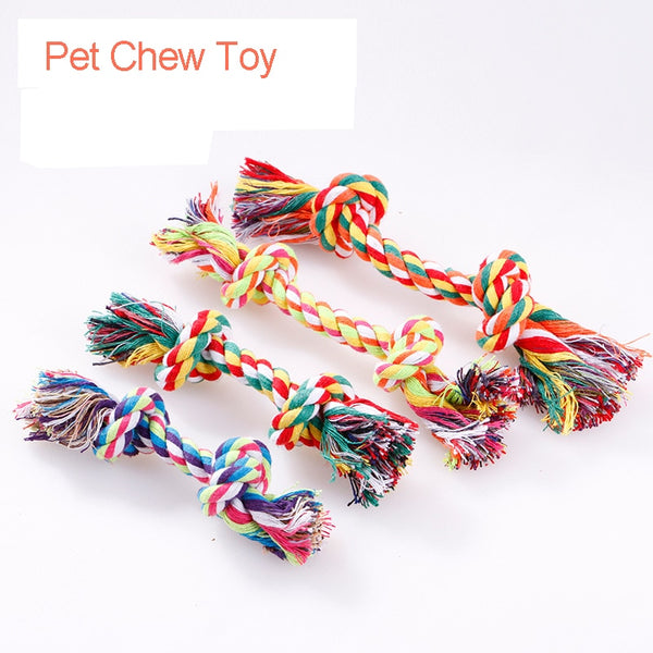 Pet Puppy Cotton Rope Molar Toy Cotton Chew Knot Toy Durable Braided Bone Rope Funny Tool Dogs Christmas Toy Supplies