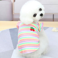 Colorful Strips Princess Dress Flying Sleeve Cat Sweatshirt Sleeveless Knitted Sweater Skirt For Girl Small Dogs Clothing Summer