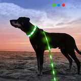 Pet night safety products USB retractable dog leash with led flashlight bag