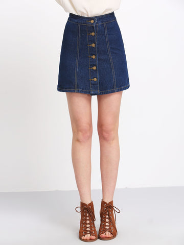 A Line Denim Skirt With Buttons