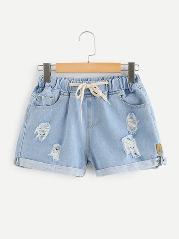 Drawstring Waist Ripped Denim Shorts