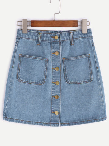 Single Breasted Denim Skirt