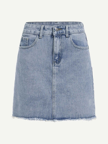 Bleach Wash Raw Hem Denim Skirt