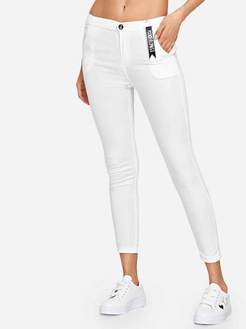 Solid Skinny Pocket Jeans