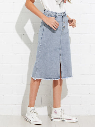 Raw Hem Split Front Denim Skirt
