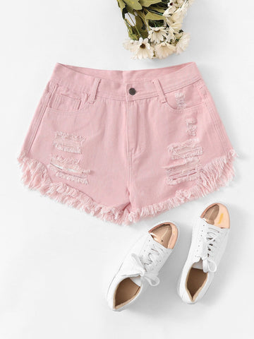 Pocket Detail Solid Denim Shorts