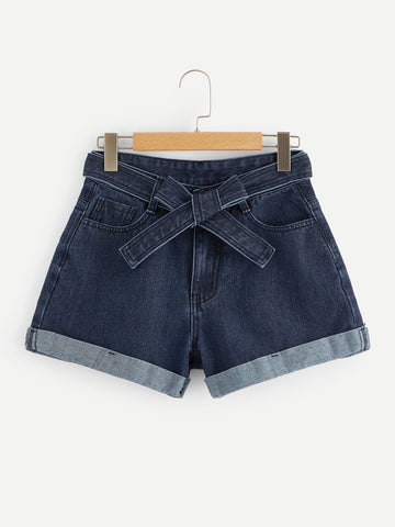 Waist Tie Rolled Hem Denim Shorts