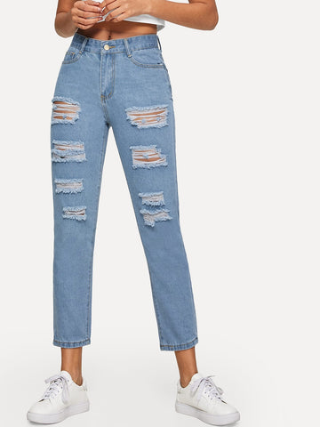 Ripped Stitch Detail Mom Jeans