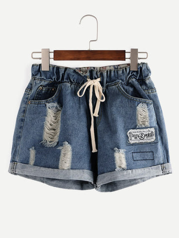 Cuffed Ripped Drawstring Denim Shorts
