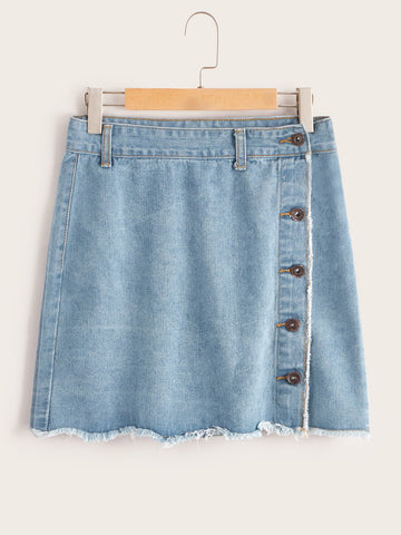 Raw Hem Button Detail Denim Skirt