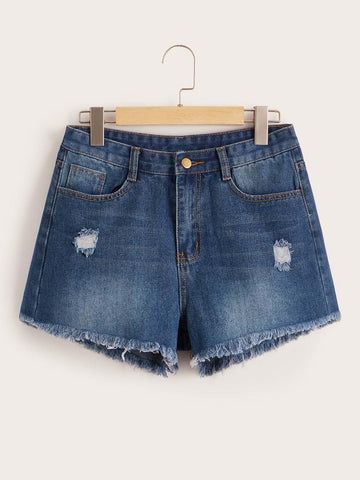 Faded Wash Ripped Raw Hem Denim Shorts