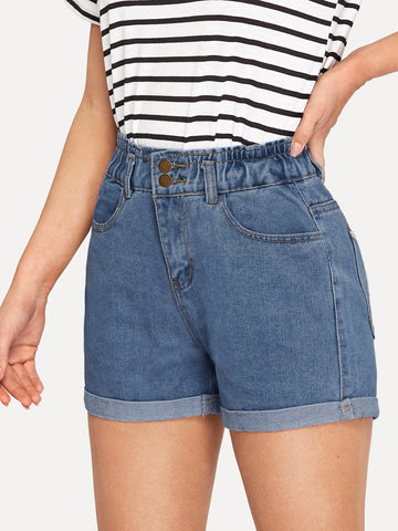 Cuffed Hem Stitch Detail Denim Shorts