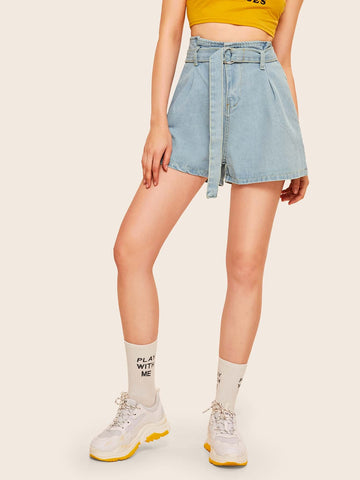 Stitch Detail Belted Denim Shorts