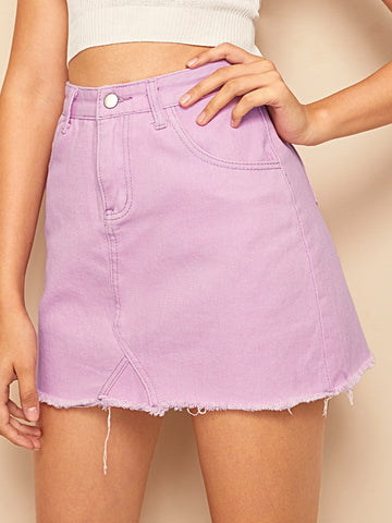 Stitch Detail Raw Hem Denim Skirt