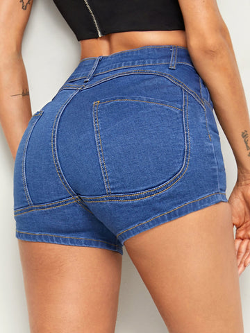 Stitch Detail Denim Shorts